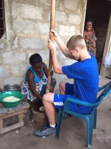 Ghana Jackson Smith makes fufu for lunch