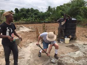 Ghana Mark Gadja mix concrete by hand
